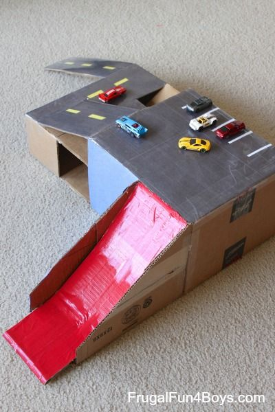 Cardboard Box Hot wheel Garage with Ramps