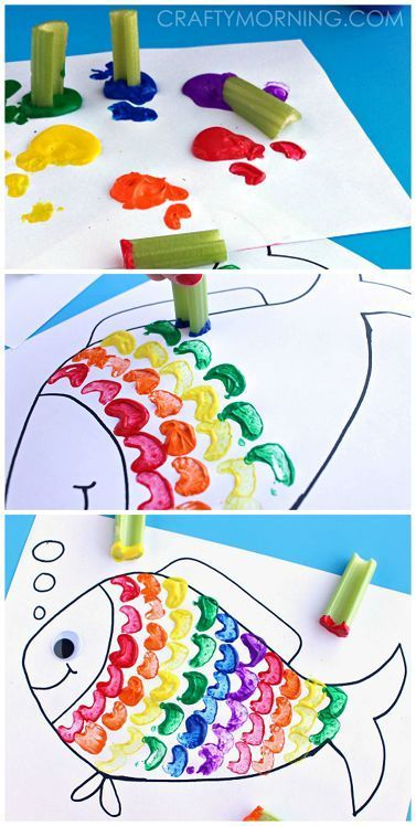 Celery Stamping Rainbow Fish Craft