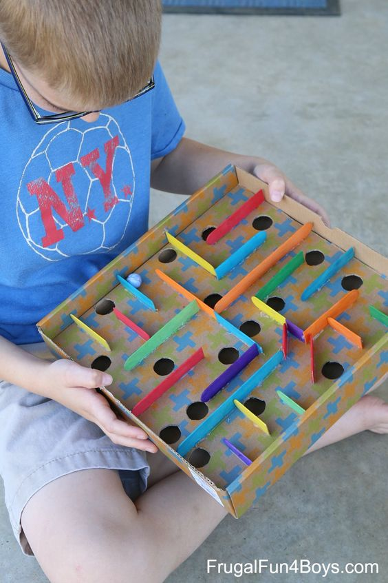 Cardboard Box Marble Labyrinth Game